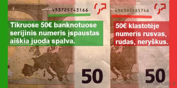 Kaip atskirti padirbtus eurus