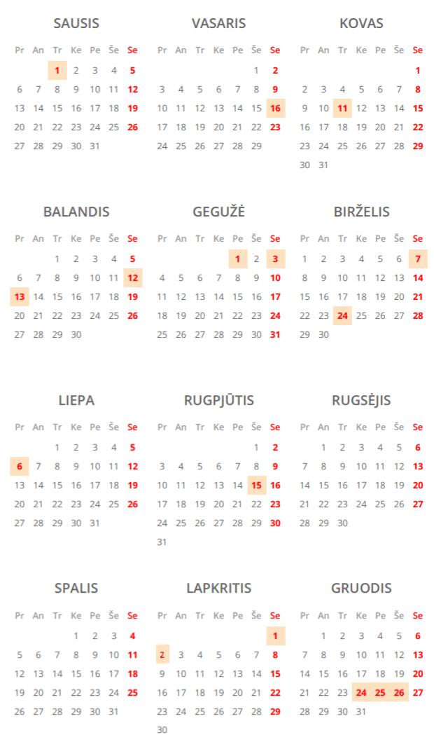 Nedarbo dienų kalendorius 2020 m.